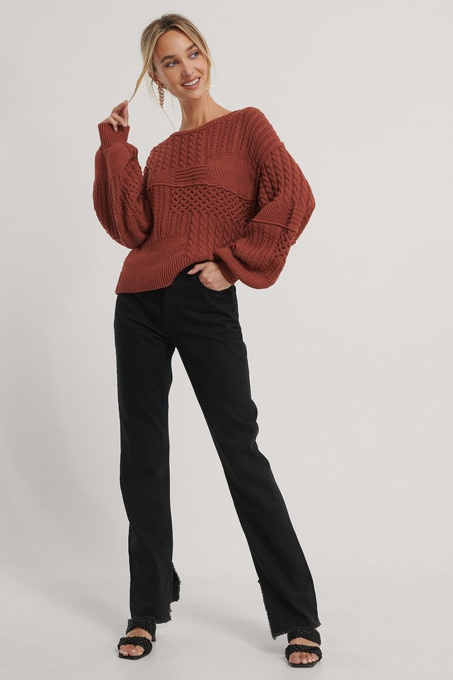 Organic Cable Knitted Deep Back Sweater Outfit.