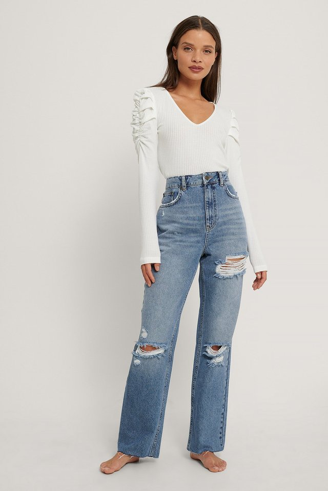 Mid Blue Destroyed Detail High Waist Straight Jeans