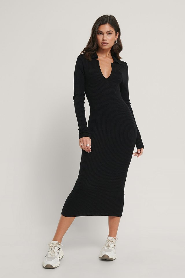 Collar Knitted Midi Dress Outfit.