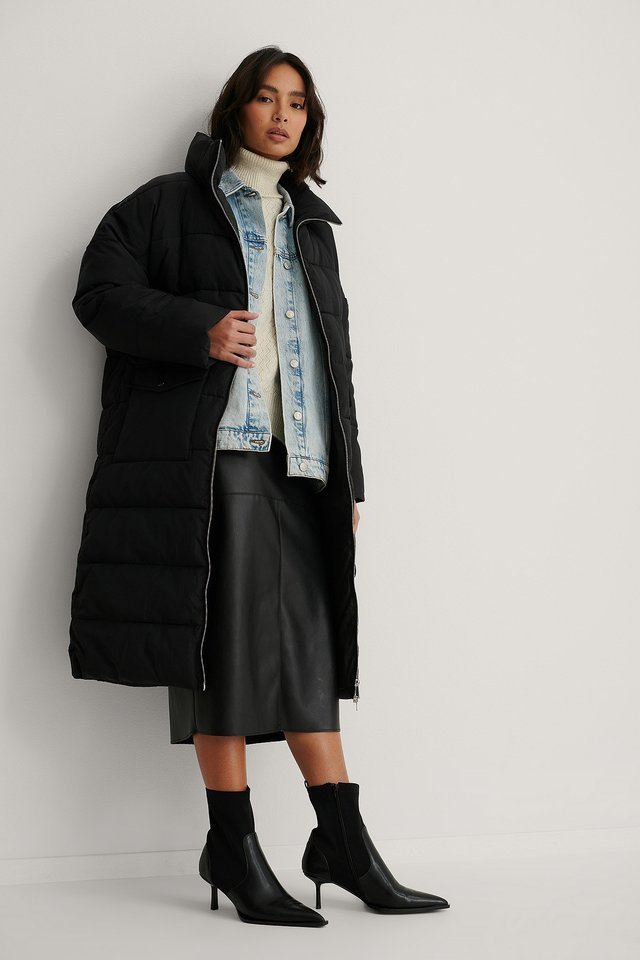 Big Pocket Padded Long Jacket Outfit.