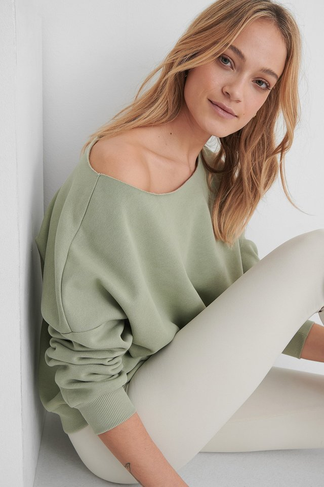 One Shoulder Raw Edge Neck Sweater Outfit.