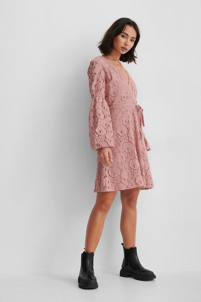 Waist Belt Lace Dress Outfit.