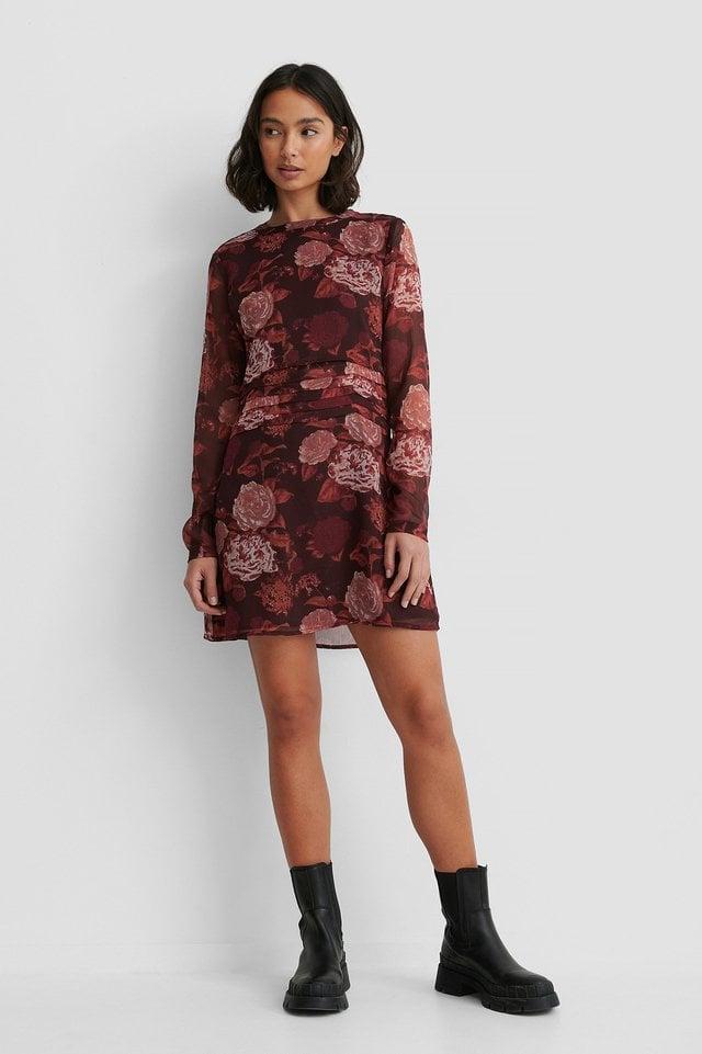 Gathered Chiffon Mini Dress Outfit.