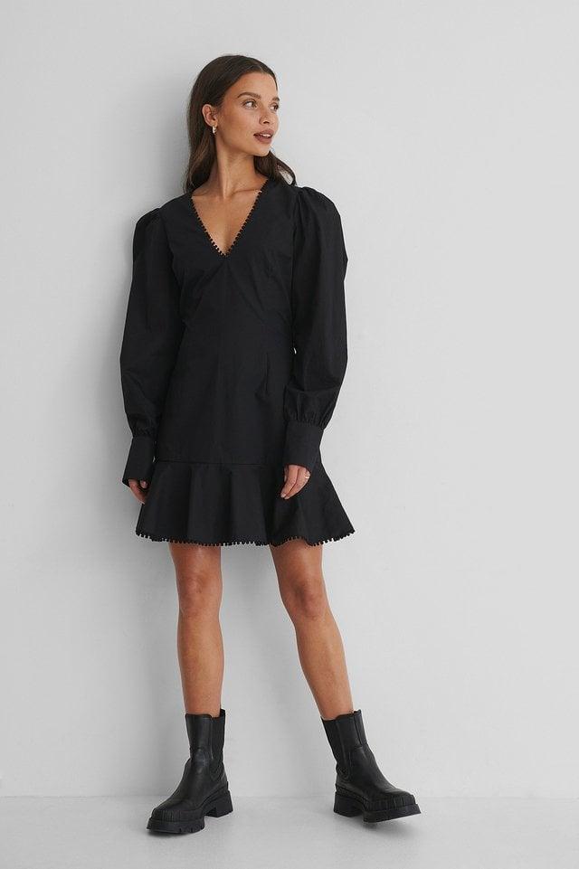 Wide Shoulder Mini Dress Outfit.