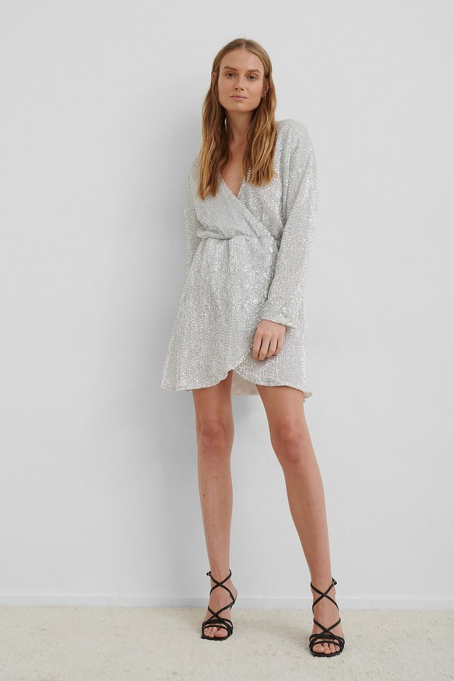 Overlap Sequin Mini Dress Outfit.