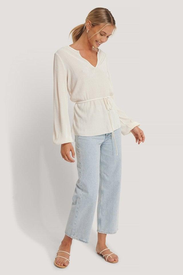 V-neck Plisse Blouse Outfit.