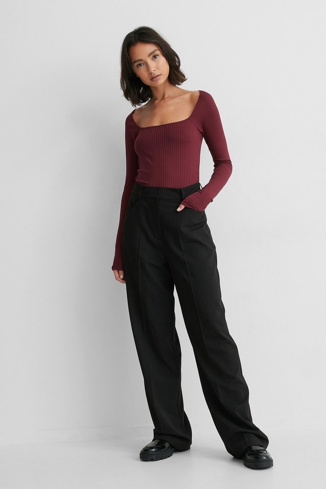 Round Neck Rib Top Outfit.