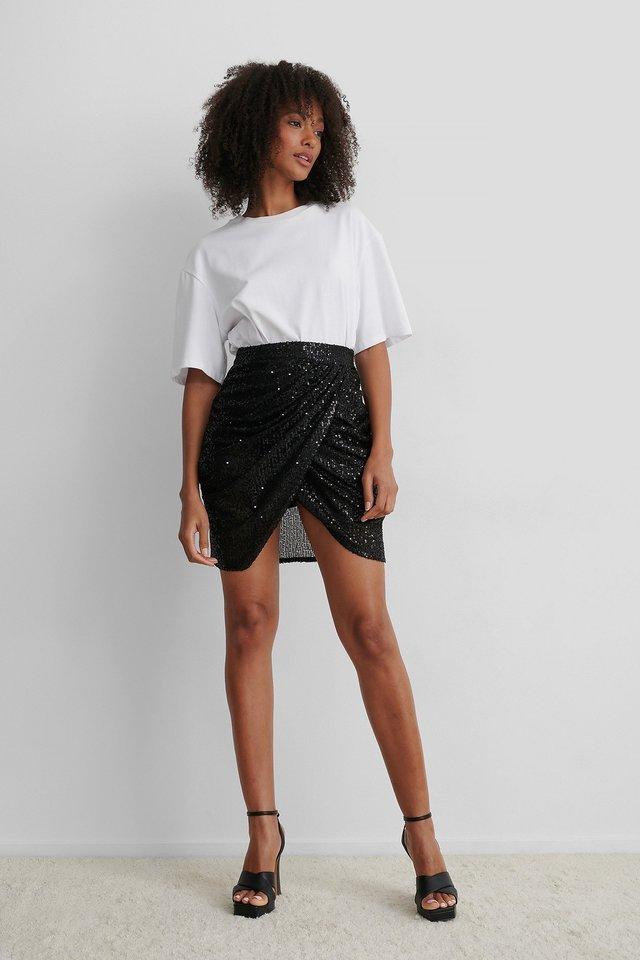 Draped Sequin Skirt Outfit.