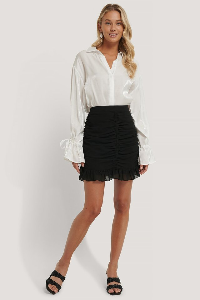 Draped Sheer Mini Skirt Outfit.