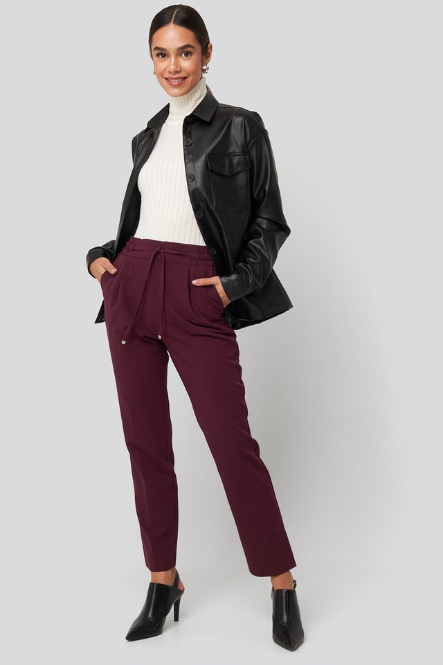 Drawstring Front Pleat Pants Outfit.