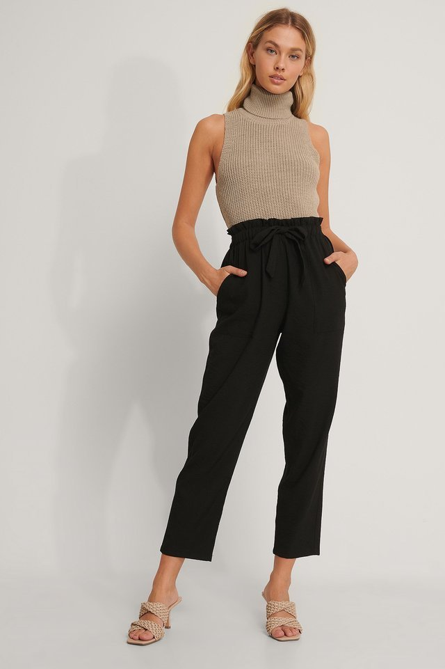 Tie Belt Pants Outfit.