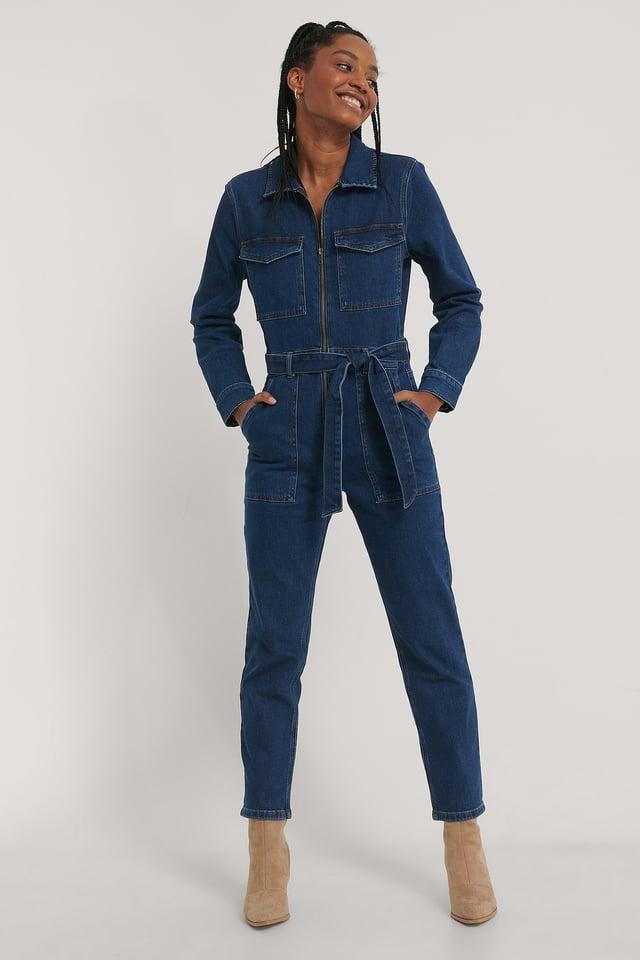 Zip Detail Denim Jumpsuit Outfit.
