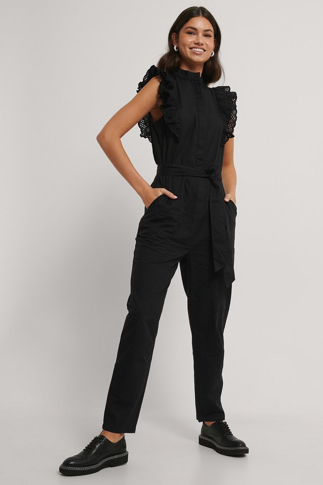Ruffle Jumpsuit Outfit.