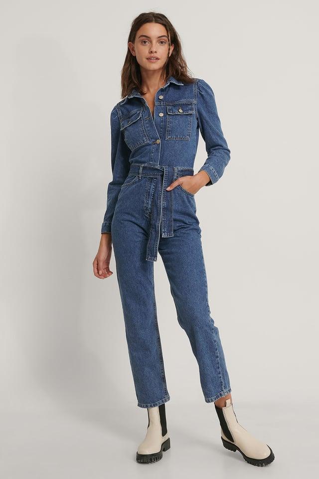 Belt Denim Jumpsuit Outfit.