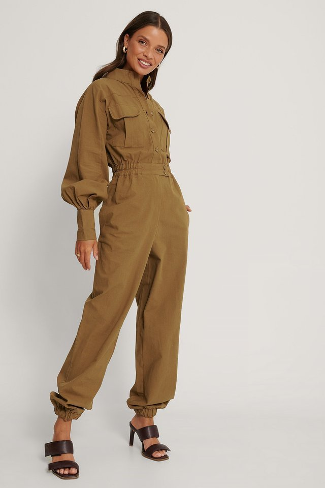 Button Detailed Jumpsuit Outfit.