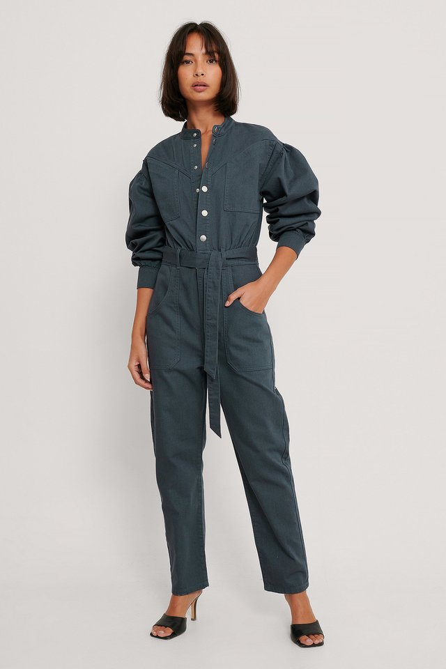 Colored Denim Jumpsuit Outfit.