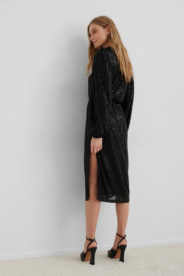 Balloon Sleeve Slit Sequin Dress Outfit.