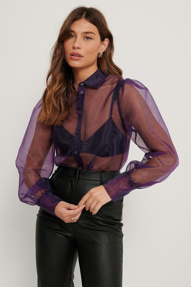 Balloon Sleeve Organza Blouse Outfit.