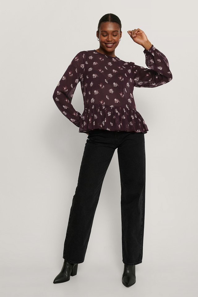 Shirred Round Neck Flounce Blouse Outfit.