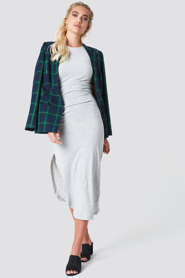 Side Ruching Dress & Checkered Blazer