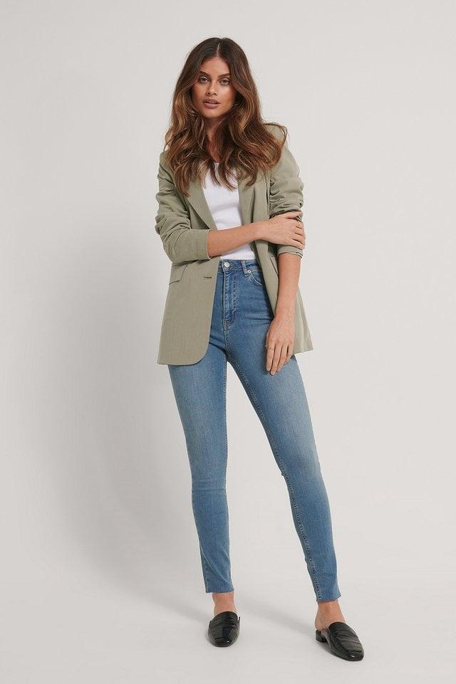 Skinny High Waist Raw Hem Jeans Tall.