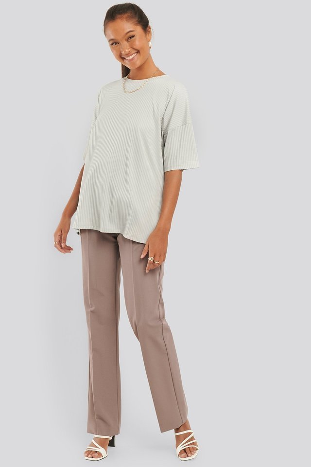 Dusty Light Beige Ribbed Oversized Tee