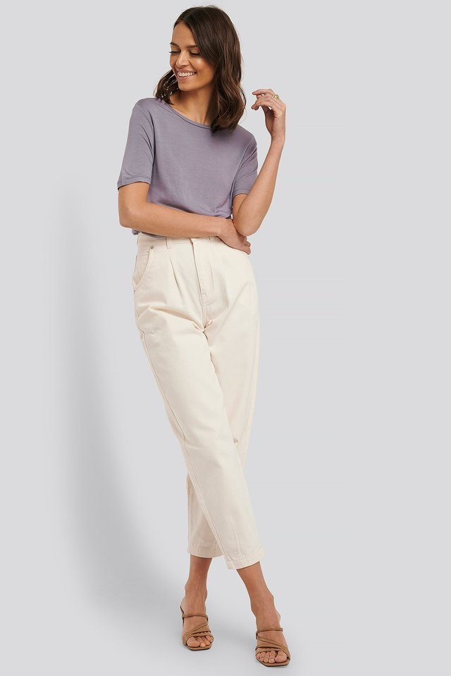 Viscose Deep Back Tee Outfit.