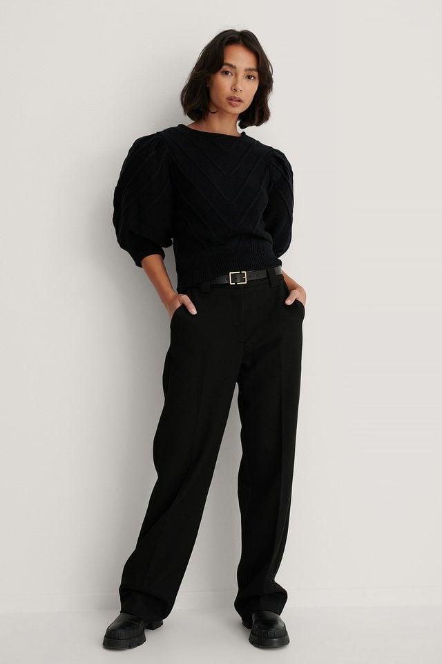 Black V Detail Knitted Sweater