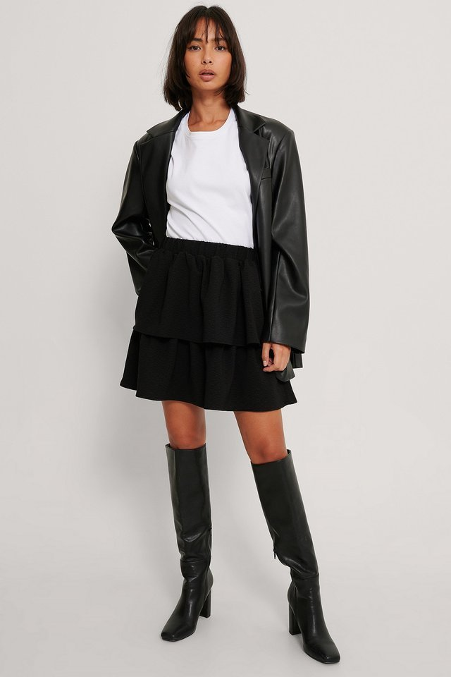 Frill Mini Skirt Outfit.