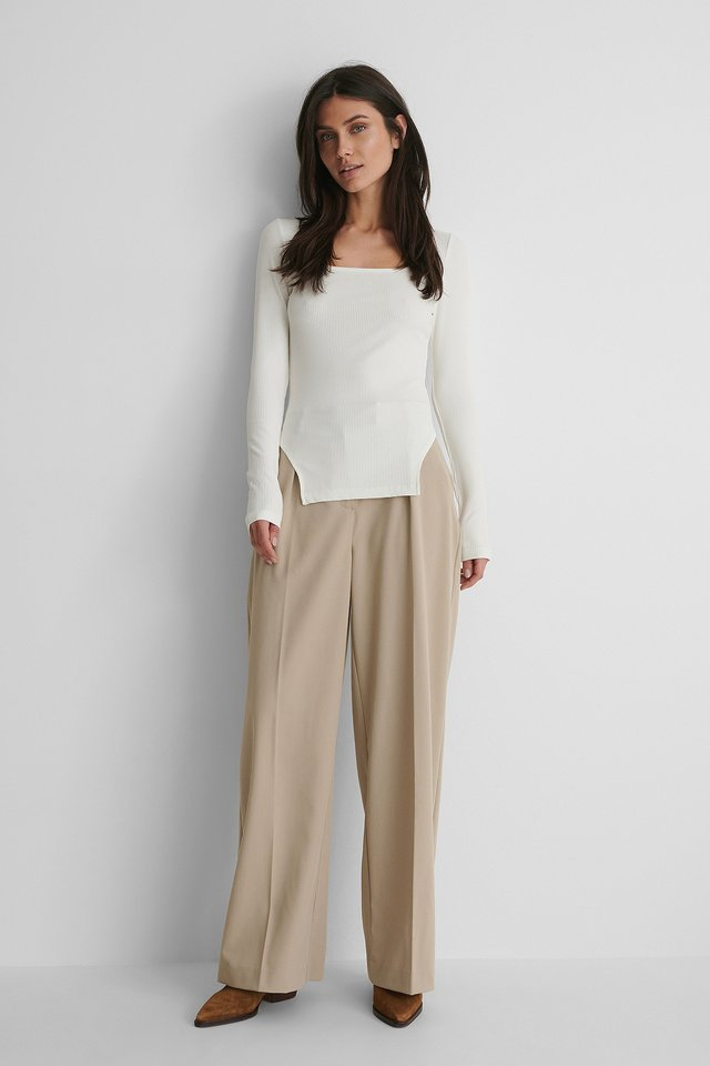 Square Neck Slit Top Outfit.