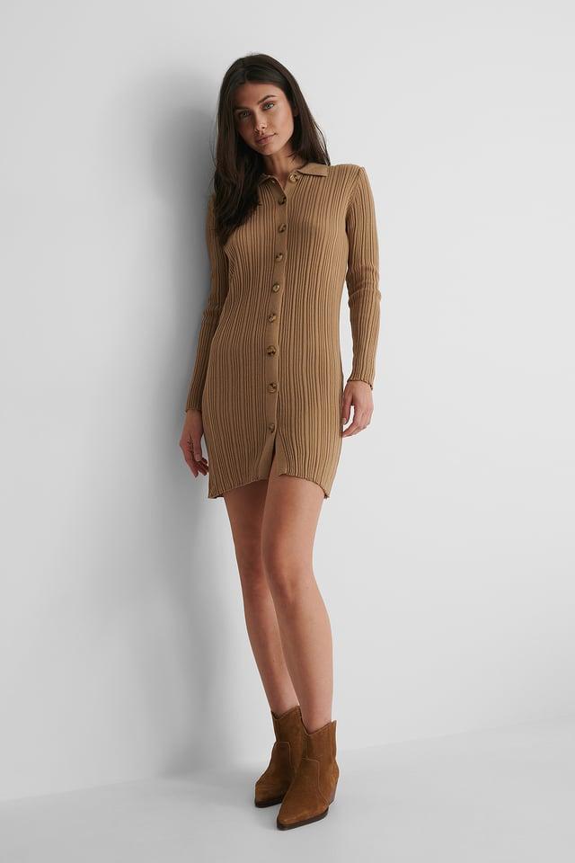 Button Detail Knit Dress Outfit.