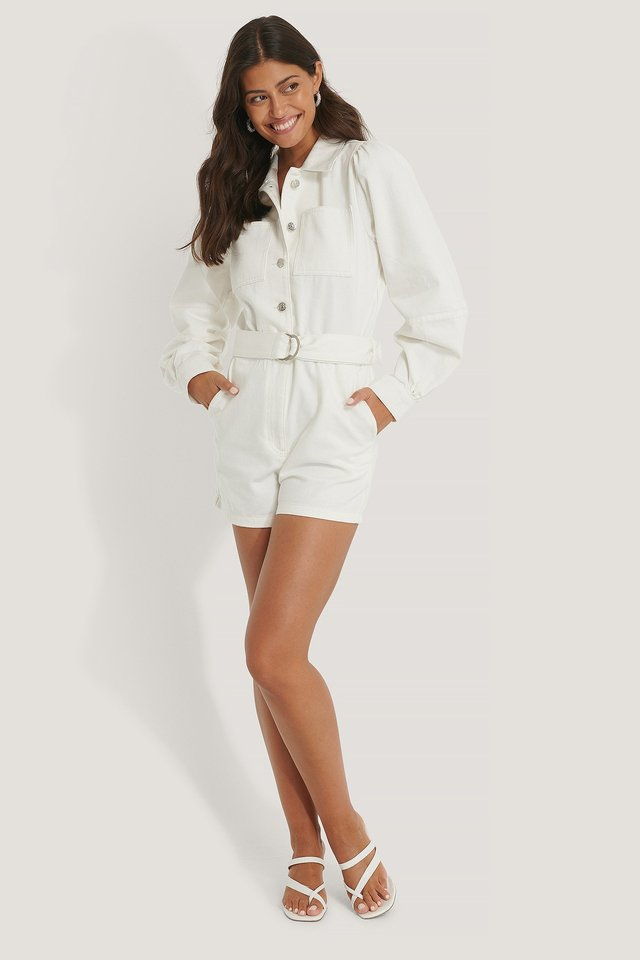 Puff Sleeve Denim Playsuit Outfit.