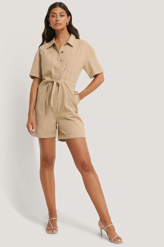 Drawstring Detailed Playsuit Outfit.