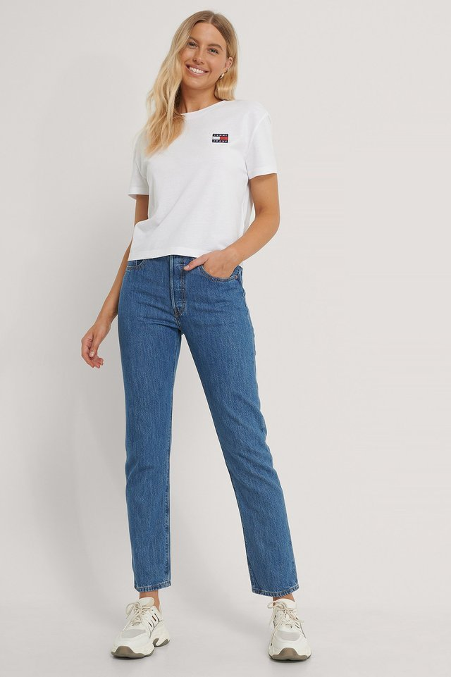 Tommy Badge Tee Outfit.