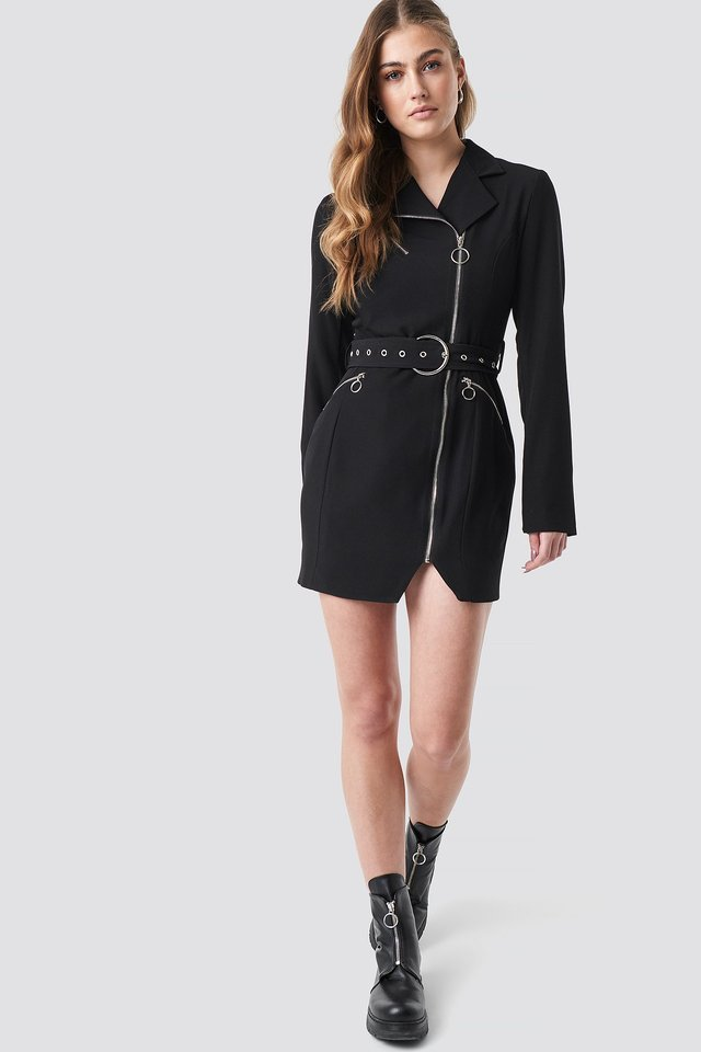 Belted Zip Detail Blazer Dress Outfit.