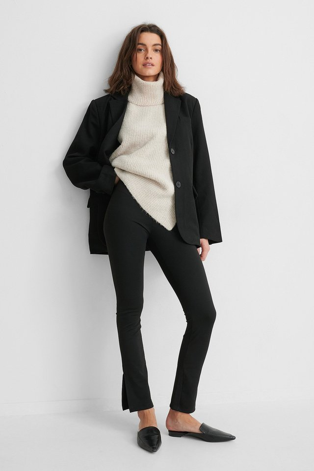 High Waist Slit Pants Outfit.