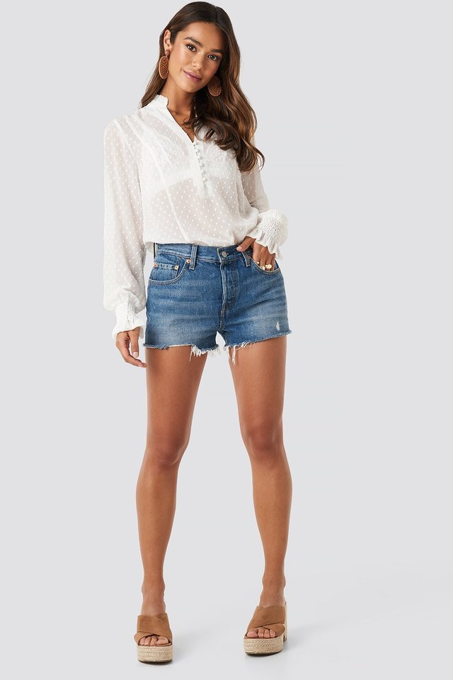 Dobby Flowy Buttoned Blouse Outfit.