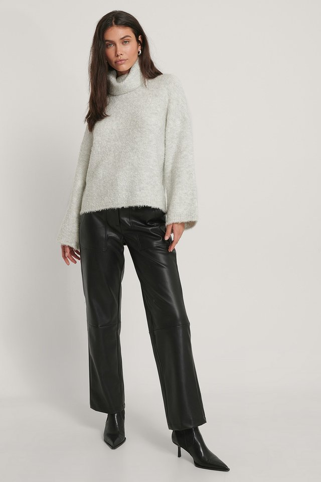 Melange Polo Knit Sweater Outfit.