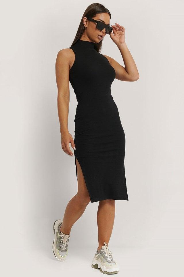 High Neck Sleeveless Dress Outfit.