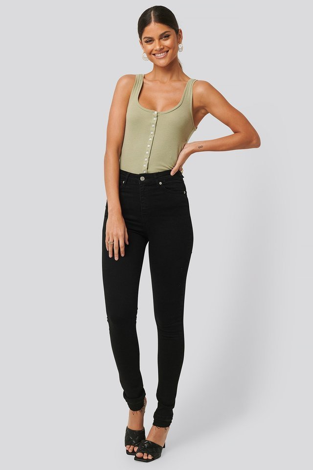 Skinny High Waist Open Hem Jeans Tall.