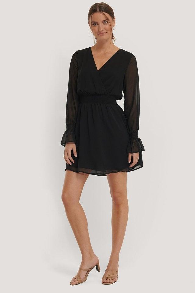 Smocked V-Neck Mini Dress.