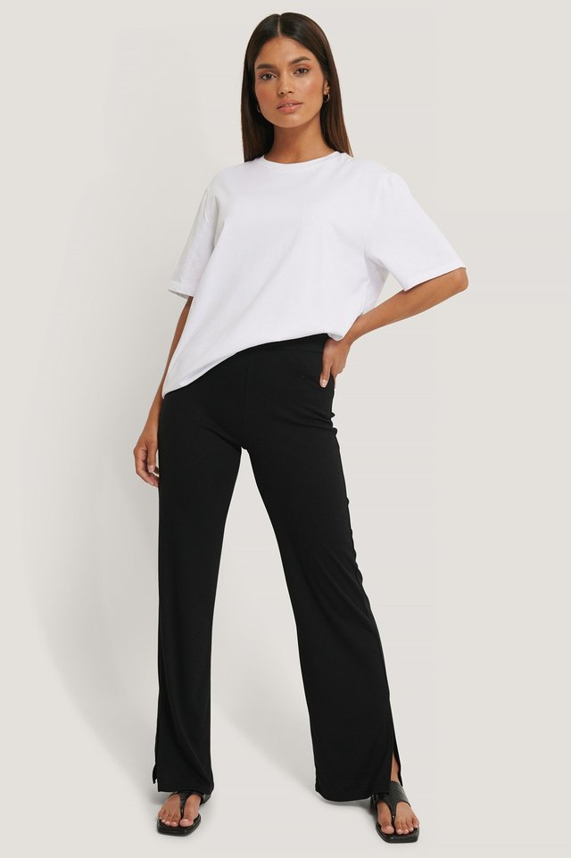 Rib Slit Pants Black.