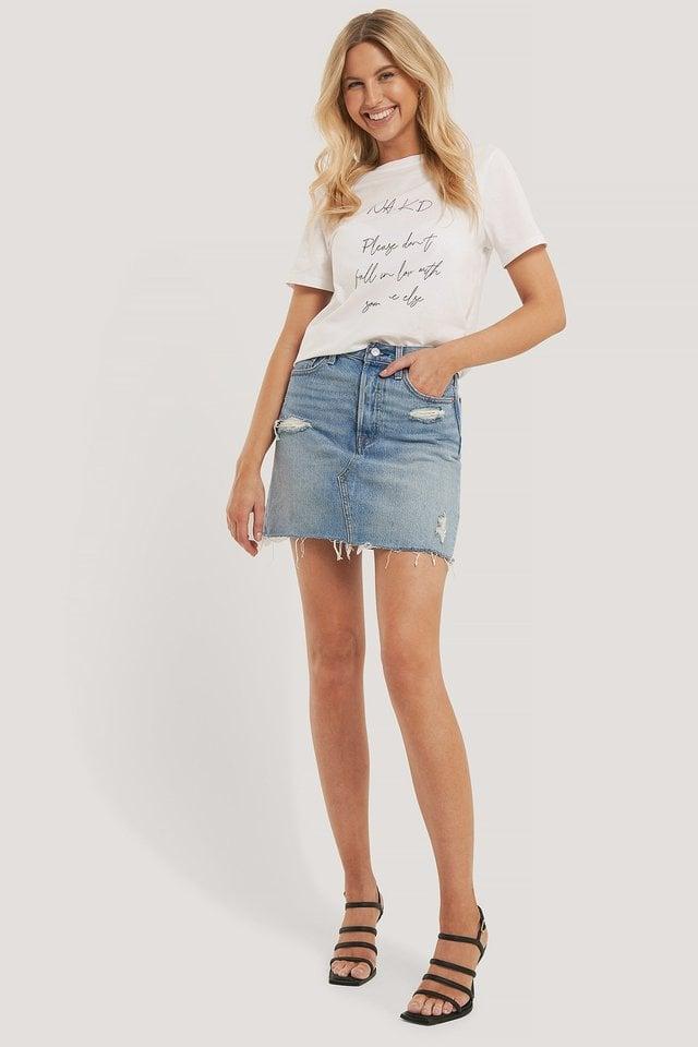 White Ekologisk T-shirt Med Tryck