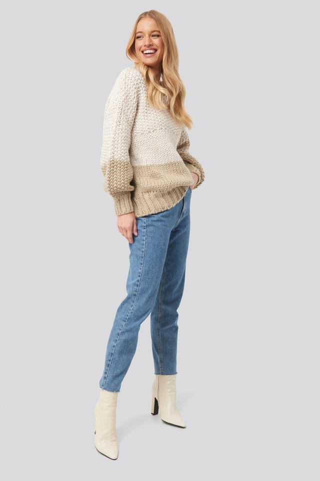 Two Coloured Heavy Knitted Sweater Outfit.