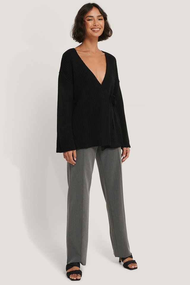 Ribbed Overlap Tie Sweater Outfit.