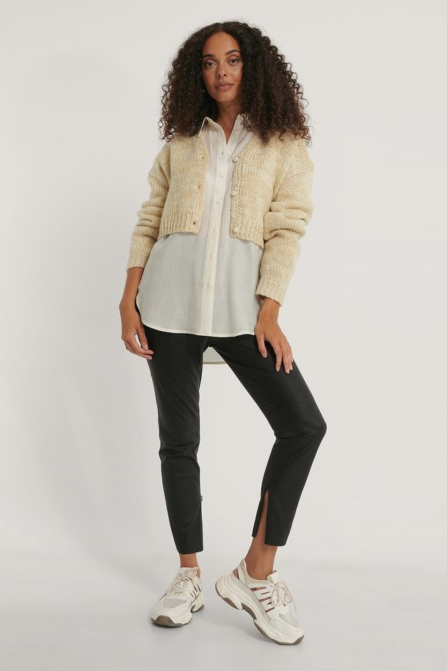 Melange Knitted Pearl Detail Cardigan Outfit.