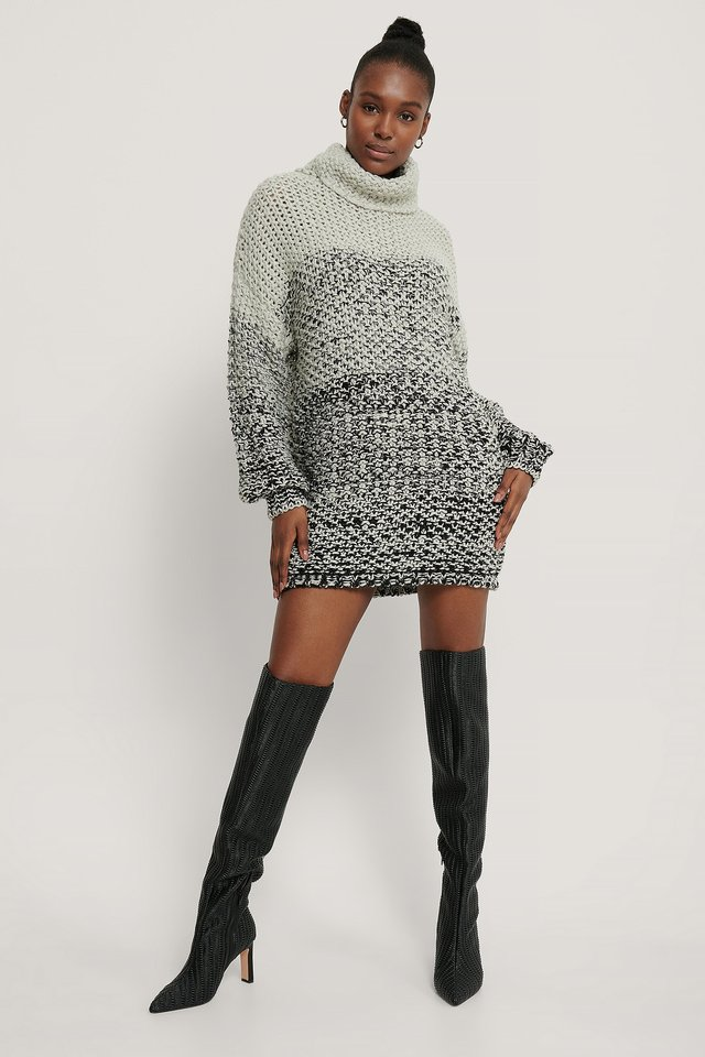 Chunky Melange Knitted Sweater Outfit.
