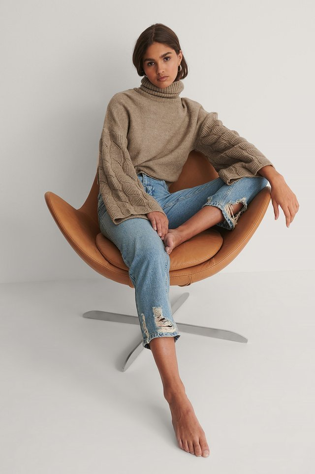 Wide Sleeve High Neck Knitted Sweater Outfit.