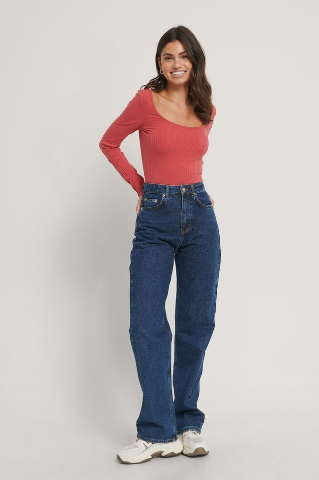 Washed Red Deep Round Neck Rib Top