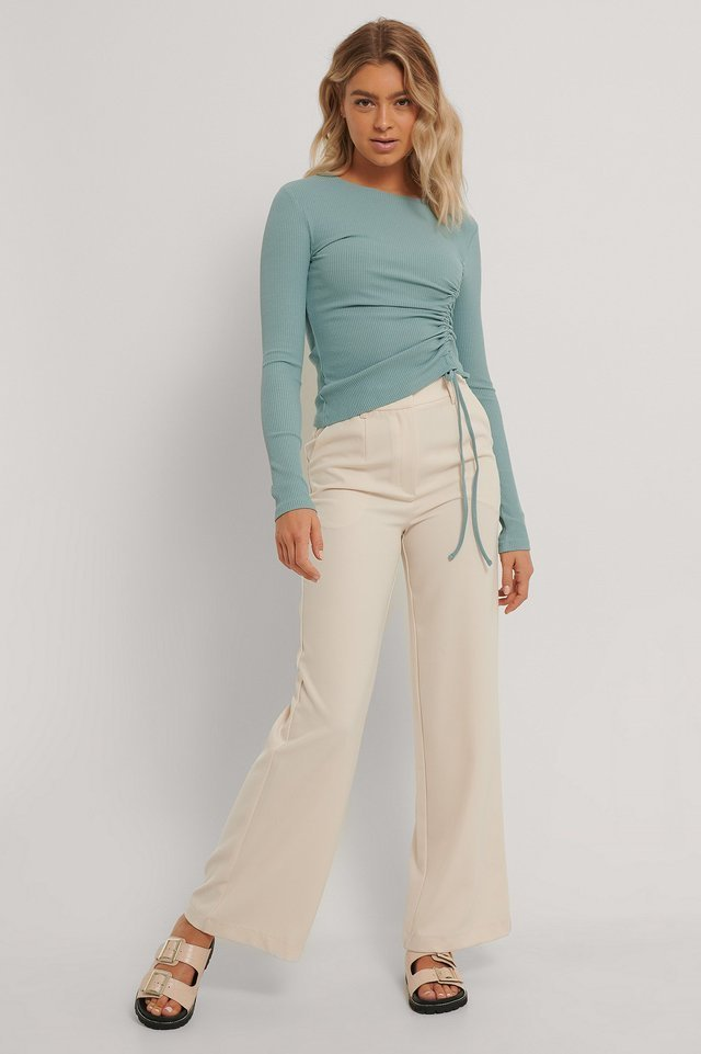 Ribbed Drawstring Top Outfit.